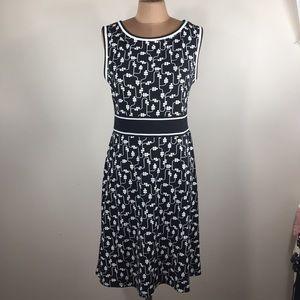 Max Studio Black & White Floral Print Dress